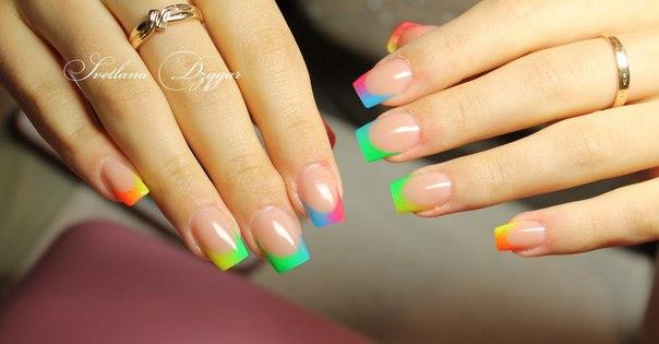 Дизайн ногтей радуга френч