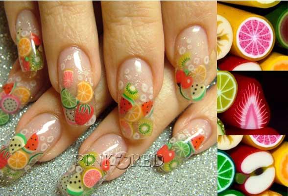 Дизайн ногтей фрукты фимо